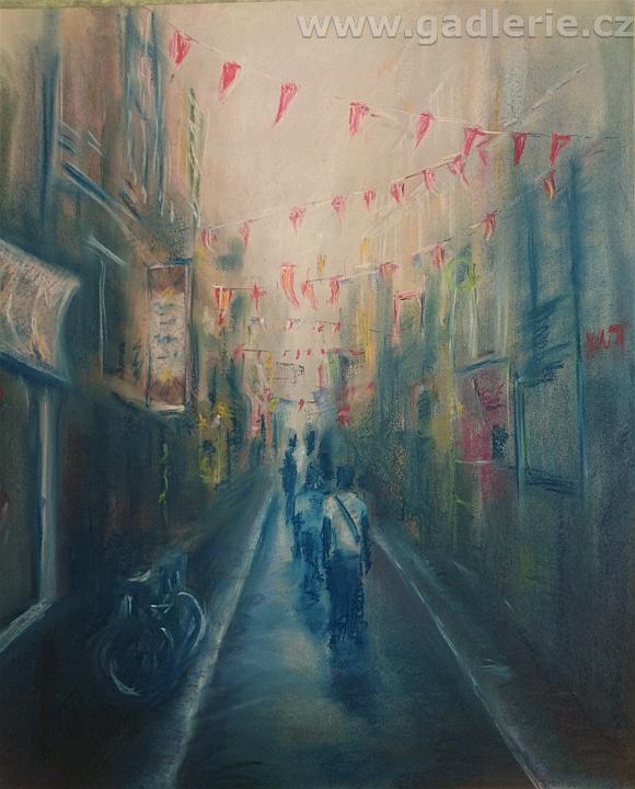 AMSTERODAM, suchý pastel, karton, 50 x 42