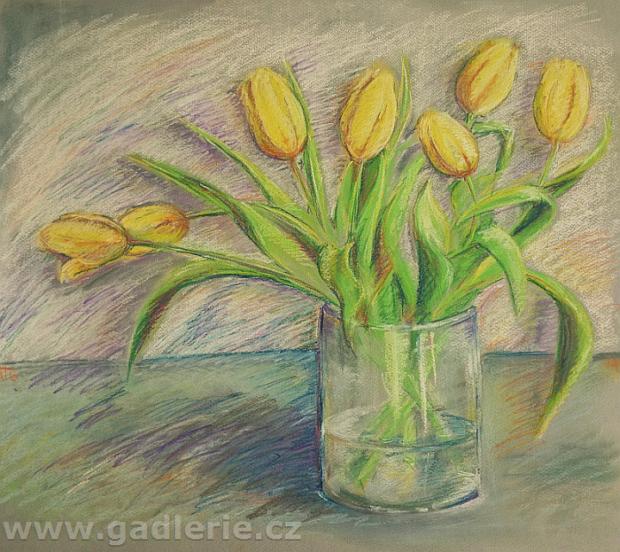 TULIPÁNY, suchý pastel, karton, 57 x 50 cm