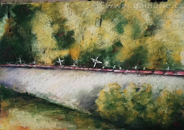 HLAVATCE, suchý pastel, karton, 50 x 35
