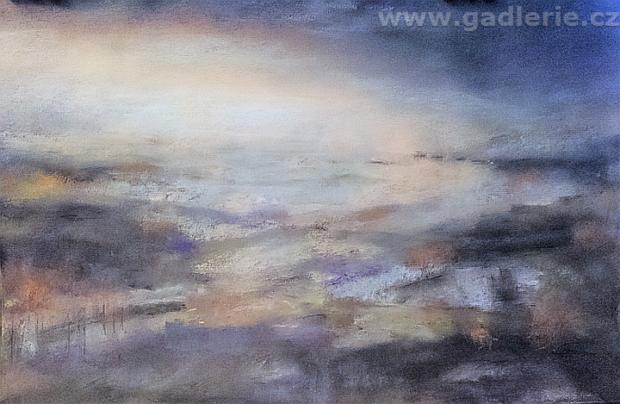 SPÍCÍ KRAJINA, suchý pastel, karton, 50 x 33