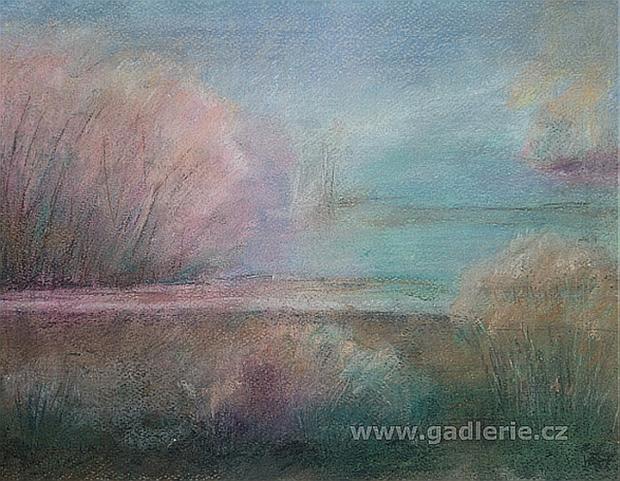 SEN O JARU, suchý pastel, karton, 36 x 28