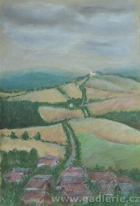 KLENOVÁ I, suchý pastel, karton, 30 x 45