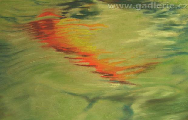 POD HLADINOU, suchý pastel, karton, 70 x 50, www.art-we.cz