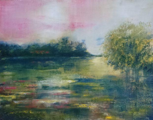 SRPNOVÝ VEČER, olej, plátno na desce, 45 x 35
