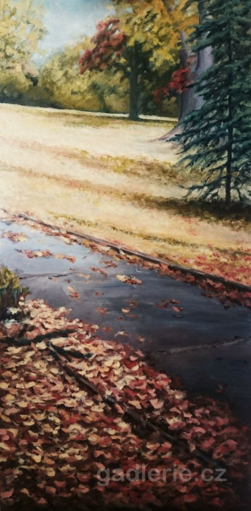 KLAMOVKA, olej, plátno na rámu, 50 x 100