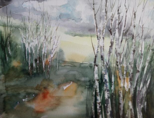 CESTOU Z PLZNĚ, akvarel, 32 x 24