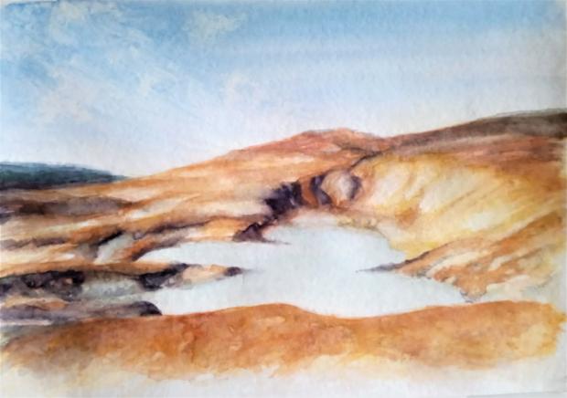 ISLAND (podle J. Suchardy), akvarel, 50 x 40