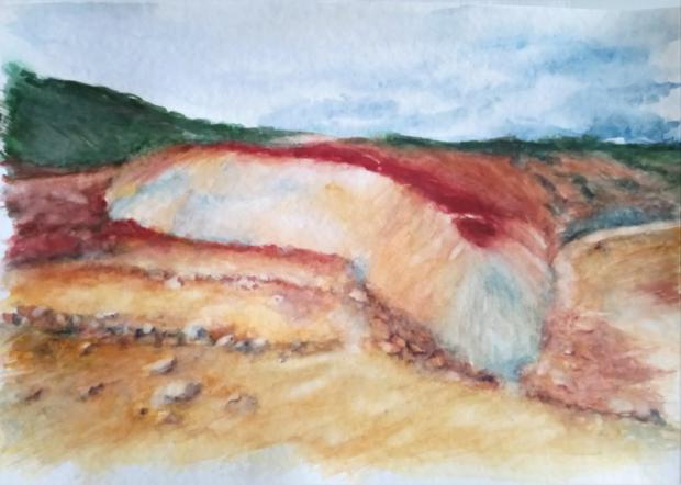 BAREVNÁ KRAJINA (podle J. Suchardy), akvarel, 32 x 24