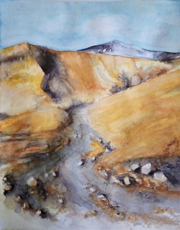 POHOŘÍ ČARODĚJNIC (podle J. Suchardy), akvarel, 40 x 50