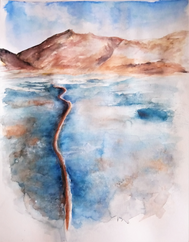 HAD V LEDU (podle J. Suchardy), akvarel, 40 x 50