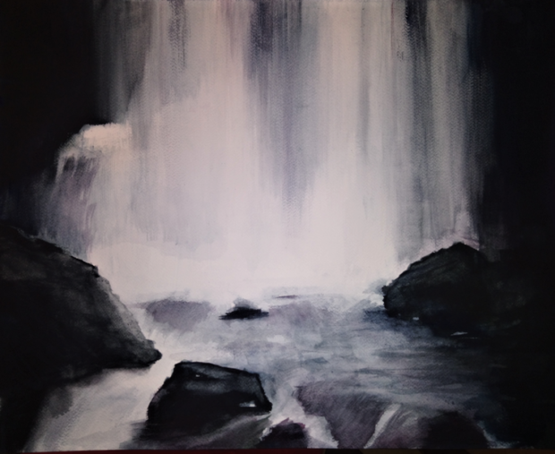 VODOPÁD (podle J. Suchardy), akvarel, 50 x 40