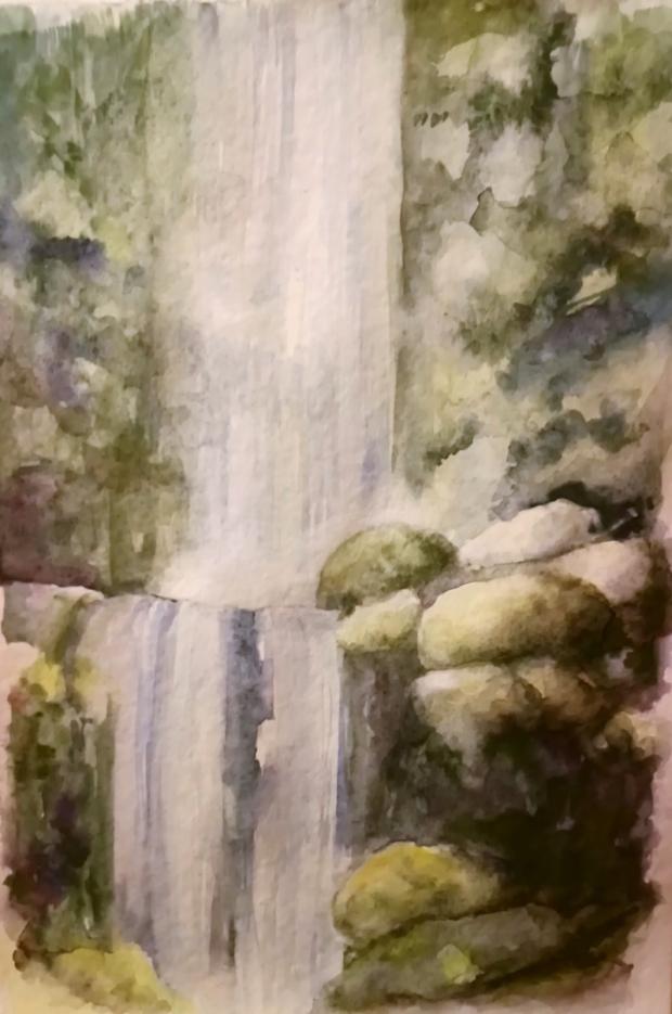VODOPÁD, akvarel, 30 x 45, NEDOSTUPNÝ