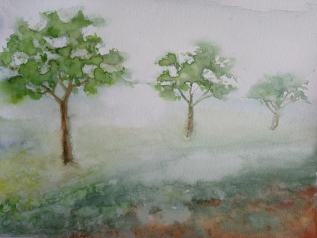 RANNÍ PROCHÁZKA, akvarel, 32 x 24