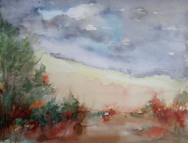 ŽEBRÁK, akvarel, 32 x 24