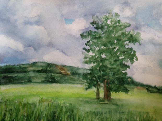 U KŘÍŽKU, akvarel, 32 x 24
